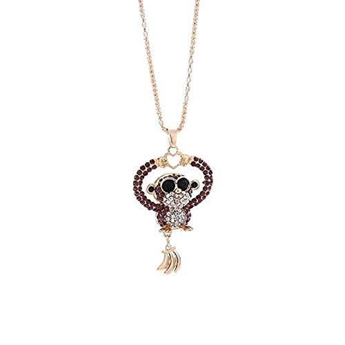 FAVOT Necklace,Woman Fashion Cute Mini Monkey Pendant Necklace Charm Colorful Rhinestone Monkey Necklace Jewelry (Purple)