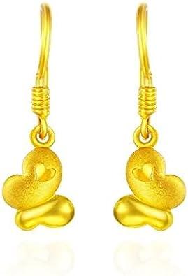 Beydodo Pendientes Mujer Pendientes Oro Amarillo Pendientes de Mujer Pendientes Mariposa Corazón Pendientes