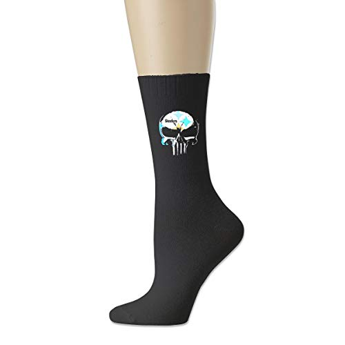 (QEIURAI Skull Pittsburgh Steelers Comfortable Cotton Socks For Womens Mens And Girls)