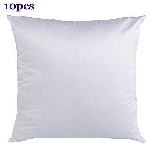 H-E Plain White Sublimation Blank Pillow Case Fashion Cushion Pillowcase Cover for Heat Press Printing Throw Pillow Covers (10pcs/Pack)