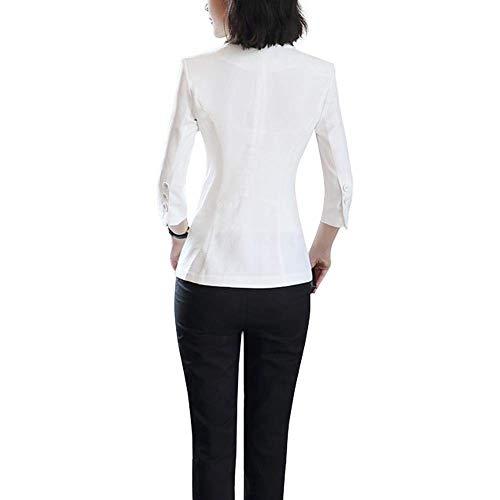 Cappotto Fashion Da 3 Casual 4 Bianca Solidi Alla Donna Moda Classiche Blazer Bavero Fit Giacca Tailleur Colori Con Tasche Autunno Primaverile Manica Slim Chic yBT8Y
