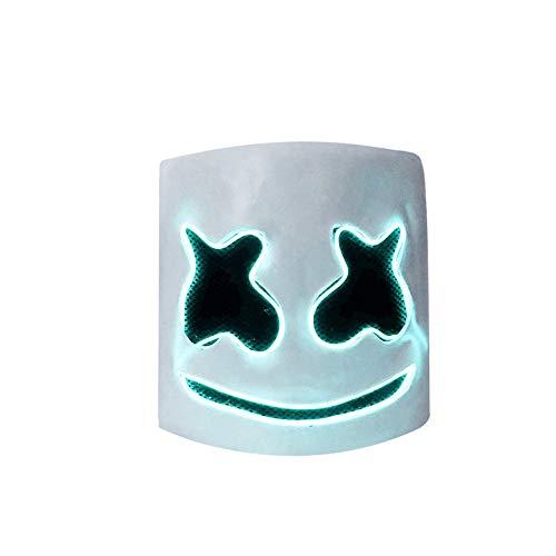 Rubysam LED Latex DJ Latex DJ Mask Helmet Costumes for Unisex Adult Party Cosplay (Blue) ()