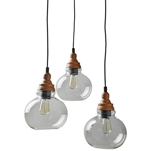 Rivet Glass Mid Century Modern 3 Pendant Chandelier Fixture With Light Bulb - 21.25 x 8 x 14.25