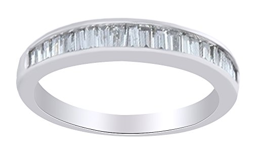 Baguette Shape (0.50 Cttw) White Diamond half Eternity Band Ring In 14K Solid White Gold,Ring Size-6 (Eternity Baguette Band Diamond Ring)