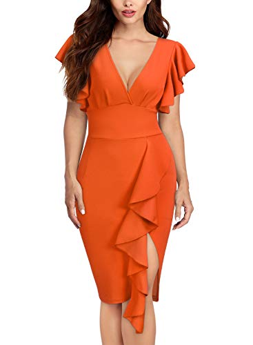 Knitee Women's Deep-V Neck Ruffle Sleeves Cocktail Party Pencil Dress Orange