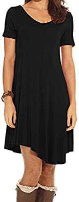 CakCton Women's Casual Dress T-Shirt Dress Cotton Tunic Loose-Fit Short Sleeve Dress