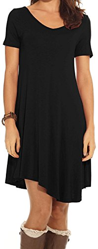 CakCton Womens Casual Dress with Pocket Short Sleeve Tunic Swing Dress