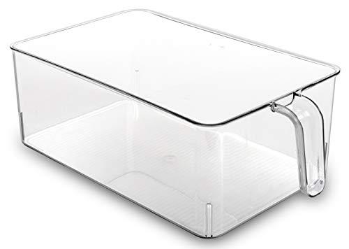 (BINO Refrigerator, Freezer, and Kitchen Pantry Cabinet Organizer Plastic Bin with Handle, Clear Plastic Storage Bins Refrigerator Organizer Bins Fridge Organizer Pantry Organizer Pantry Storage,)