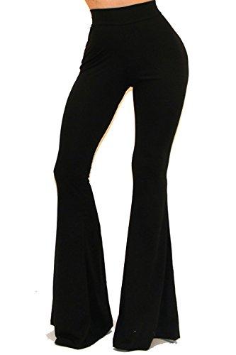VIVICASTLE Women's Boho Solid Hippie Wide Leg Flared Bell Bottom Pants (Medium, Black) by Vivicastle (Image #1)