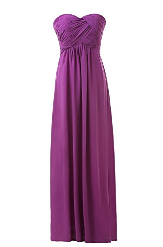 Corset Long Gown (Women's Bridesmaid Dresses Long Sweetheart Prom Gowns Chiffon Strapless (XXL, Purple2#))