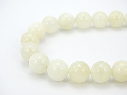 jennysun2010 Natural White Moonstone Gemstone 6mm Smooth Round Loose 60pcs Beads 1 Strand for Bracelet Necklace Earrings Jewelry Making Crafts Design Healing