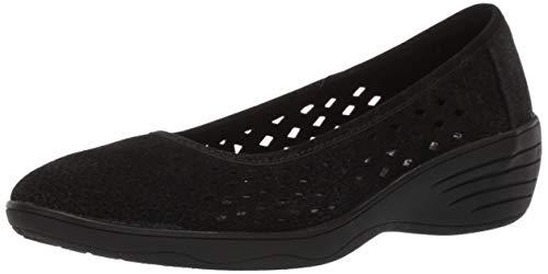 Skechers Women's KISS-Shifty-Laser Cut Skimmer Ballet Flat, Black, 8.5 M US