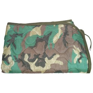 "Military Style Nylon Rip-Stop Poncho Liner - 62"" x 82"", Woodland Camouflage"