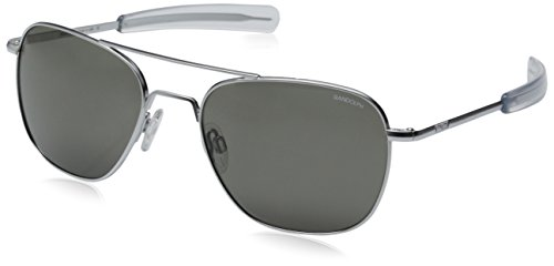 Randolph Aviator Square Sunglasses, 58, Matte Chrome, Bayonet, Gray Lenses