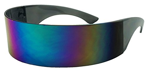 Black Retro Futuristic Single Shield Color Oversized Wrap Cyclops / Visor Sunglasses (Smoke, Midnight Green - Shield Women Sunglasses S