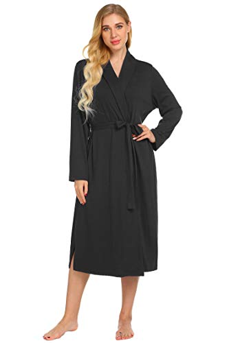 Ekouaer Womens Robe Soft Kimono Robes Cotton Bathrobe Sleepwear Loungewear Long S-XXL