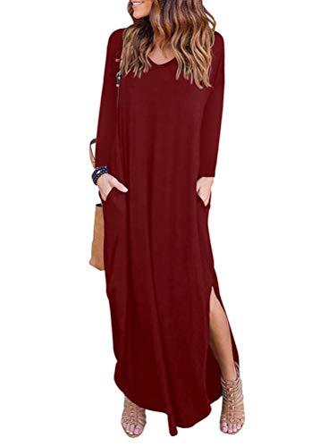 Falda Casual Grandes Playa Larga Rojo de Noche Xinwcang Elegantes Fiesta de Vestidos Largos Mujer Tallas Vestido Manga 06qZwP