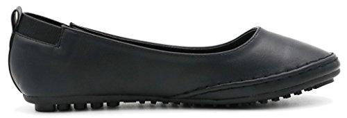 AgeeMi Shoes Mujeres Sin Cordones Sólido Puntera Redonda Cerrada Plano Negro