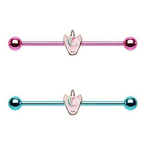 BYB Barbells 2-Pack Set Pastel Unicorn PVD Steel Industrial Barbell Piercing Jewelry 14G-35mm ()