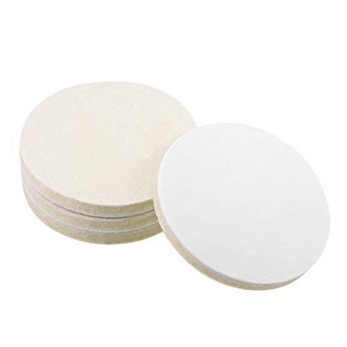 uxcell 4 inch Wool Felt Polishing Pad, Buffing Wheels Polish Pad Disc,Flocking Hook & Loop Back for Random Orbital Sander 4pcs