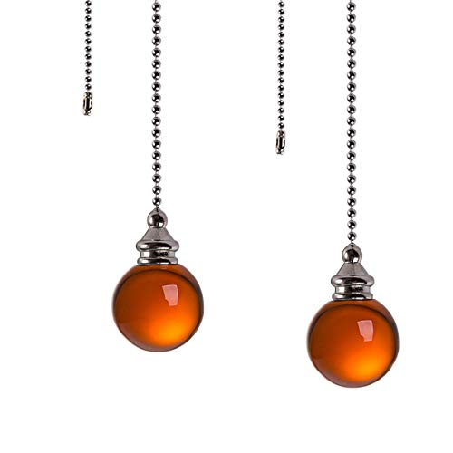 Ceiling Fan Pull Chain Set – 2 Pieces Amber Crystal Ball 30mm Diameter Fan Pull Chains 20 Inch Ceiling Fan Chain…