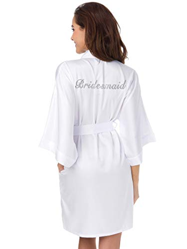 SIORO Bridal Party Robes Bridesmaids Personalized Sliver Glitter Bathrobes Women Wedding Shower Kimono Gown,White L