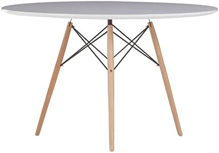 Oui Home - Mesa Comedor Redonda Tower Wood/Blanca 120: Amazon.es ...