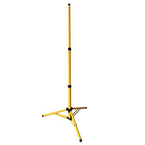 HENGDA® Trípode robusto de acero para focos, para usarlo en recintos en construcción, luz de trabajo LED ajustable en altura, trípode de acero amarillo de 1,60 m