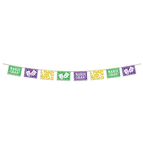 Mardi Gras Pennant Banner - Beistle 59230 Party Supplies, 8