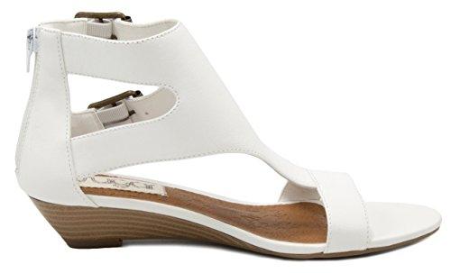 T Womens' Demi Open Wigout Toe Buckle White Bar Sandal Wedge Sugar UIFZw