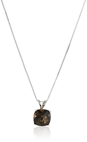Smoky Checkerboard Quartz Cut Cushion (14k White Gold Cushion Checkerboard Cut Smoky Quartz Pendant Necklace (8mm))