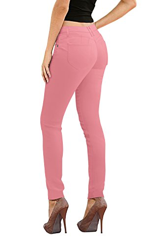 Women's Butt Lift Stretch Denim Jeans-P37366SK-DUSTY ROSE-13 (Spelling Lounge)