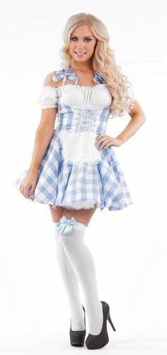 Country Milk Maid Blue Female Fancy Dress Costume - Medium (US 10-12) (Adult Milkmaid)