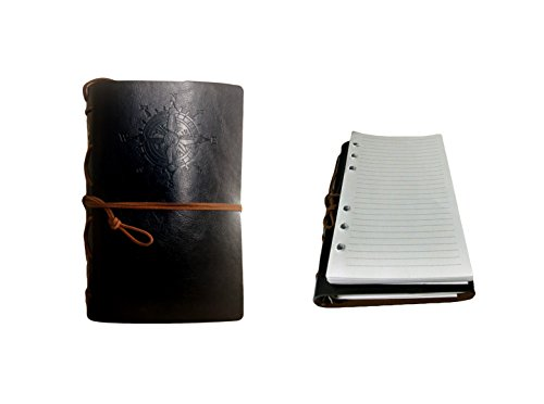 Travel Journal - Faux Black Leather Journal with Refillable Paper-Unique Birthday Gift for Women and Men- Great for Students studying abroad or aspiring Writers- Bonus Included. By: MAK Enterprise LLC