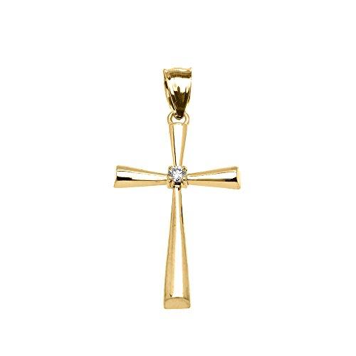 Collier Femme Pendentif 10 Ct Or Jaune Solitaire Diamant Croix Élégant (Livré avec une 45cm Chaîne)
