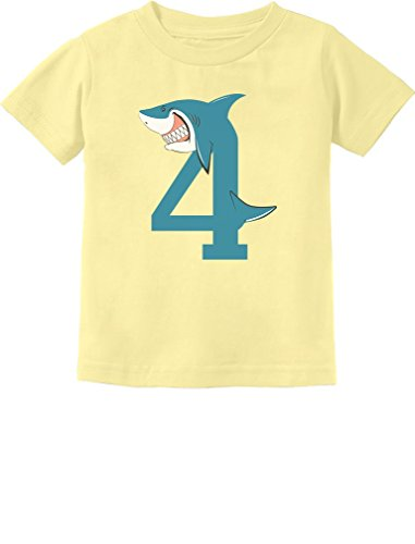 4th Birthday Shark Party Gift for 4 Year Old Toddler Kids T-Shirt 4T Banana