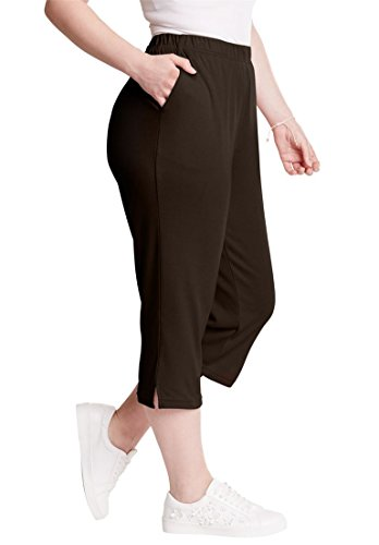 (Roamans Women's Plus Size Petite Soft Knit Capri Pant - Chocolate,)