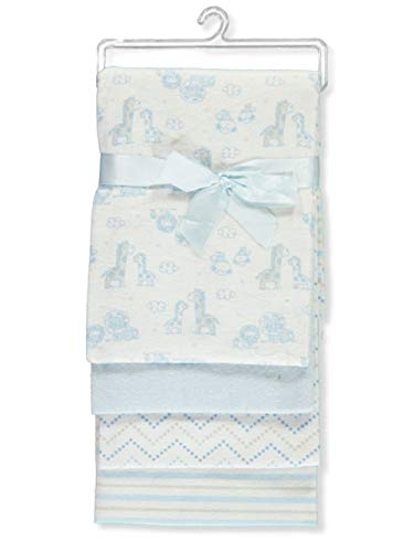Mary Jane & Buster Elephant Pair 4-Pack Receiving Blankets - Blue, one Size (Jane Mary Bedding)