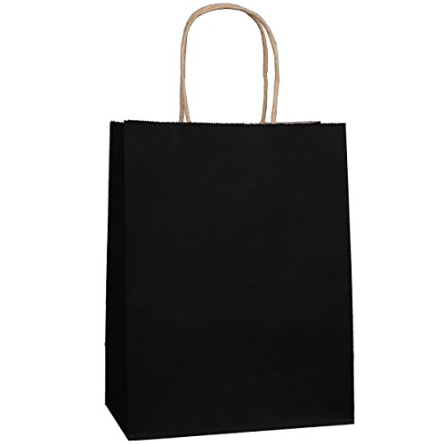 Kraft Paper Bags 8x4.75x10.5 100Pcs BagDream Gift Bags,Party Bags,Cub, Shopping Bags, Kraft Bags, Retail Bags, Black Paper Bags with Handles by BagDream