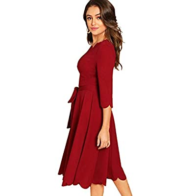Milumia Women's 3/4 Sleeve Belted Knee Length Fit & Flare Scallop Party Dress at Women's Clothing store