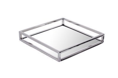 Napkin Holder - Small Square Mirrored Flat Stainless Steel For Tables (Small Buffet Mirror)