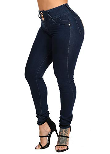 ModaXpressOnline Dark Wash 3 Button Closure High Waisted Butt Lifting Colombian Design Skinny Jeans 10146V