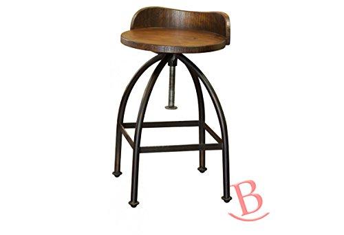 "RR 24-30"" Adjustable Height Swivel Bar Stool Wooden Seat Iron Base Industrial"