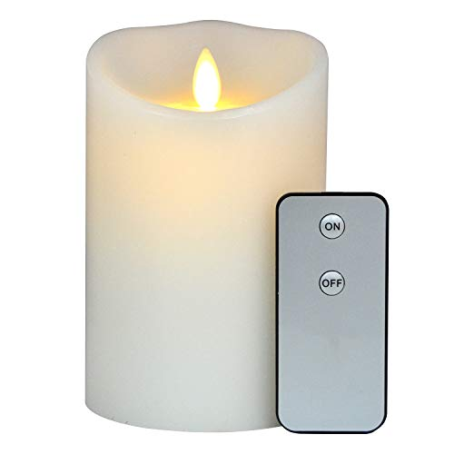 - Aglary Moving Flame Candle Battery Operated with Remote Control and Timer, Real Wax Pillar 5