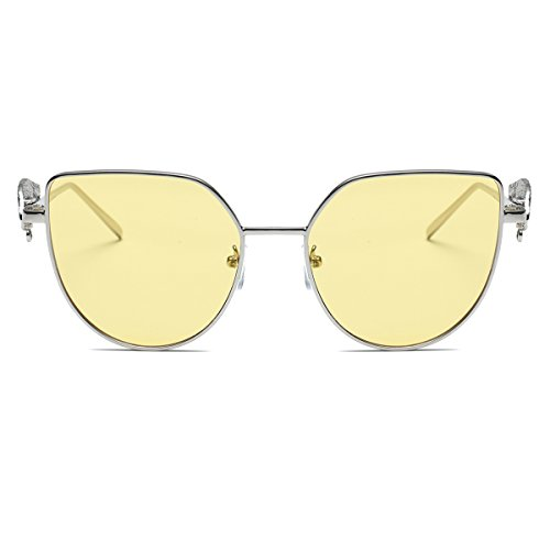 Amomoma Cat Eye Vintage Fashion Sunglasses with Wings Leg & Metal Chain AS1703 Silver Frame/Clear yellow - Sunglasses Wing