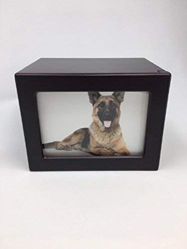 Pet Urn Peaceful Pet Memorial Keepsake Urn,Photo Box Pet Cremation Urn,Dog Urn,Cat Urn,Small Animal Urn, Size,Large, Color,Cherry, 75 cu.in