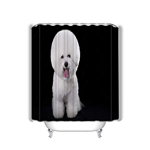 Xunulyn Waterproof Fabric Shower Curtain for Bathroom,Colorful Funny Bathroom Curtains with Standar 60x72 INCH Bichon Frise Beautiful Portrait Dog Breed Black ba