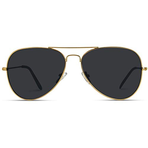 WearMe Pro - Premium Metal Frame Classic Fashion Design Polarized Lens Aviator Sunglasses with Gold Frame/Black Lens