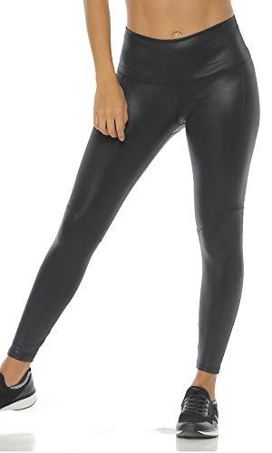 Faux Black Leather High Waisted Leggings Waist Fiber Yoga Pants Pilates Women Tummy Control Colombian