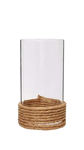 """Hosley Set of 2, 7.5"""" High, Clear Glass Pillar/Votive Candle Holder with Hurricane Rope Wrap. Ideal Gift for Weddings, House Warming, Home Office, Spa, Votive/Pillar Candle Garden. W5 from Hosley"""
